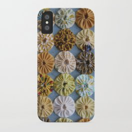 Quilted Yoyos in Yellow pattern by robayre iPhone Case