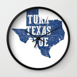 Turn Texas Blue Distressed Vintage - Beto Wall Clock