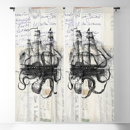 Octopus Kraken Attacking Ship on Old Postcards Blackout Curtain