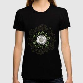 Circle Of Life Mandala With Hand Drawn Flowers T-shirt