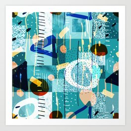 Abstract colorful geometric shapes collage Art Print