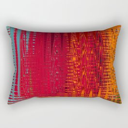 Warm red & turquoise Floor Pattern Art Rectangular Pillow