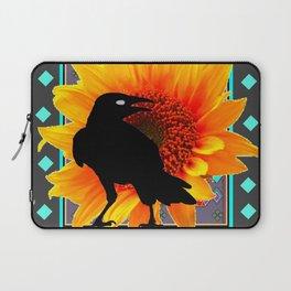 WESTERN CROW SUNFLOWER TURQUOISE-GREY  ART Laptop Sleeve