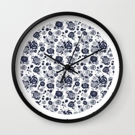 Summer Garden Indigo II Floral Pattern Wall Clock