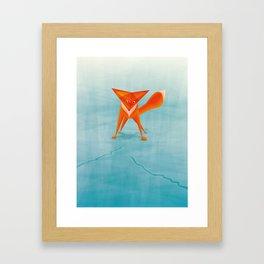 Fox on ice Framed Art Print