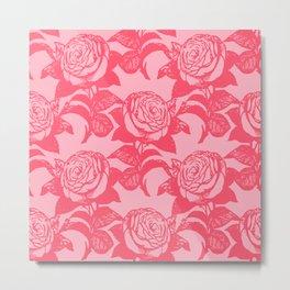 Large Floral Pink Roses Metal Print