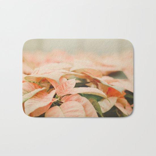 Peach Poinsettias  Bath Mat