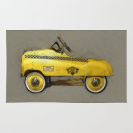 Yellow Taxi Pedal Car Rug
