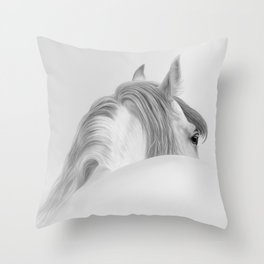 Andalusian Stallion - Digital Painting Throw Pillow