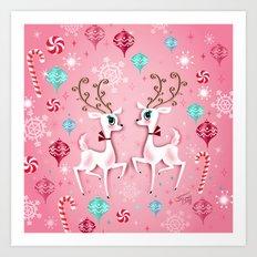 Cute Christmas Reindeer Art Print