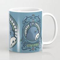 hallion Mugs featuring Forest Spirit Nouveau by Karen Hallion Illustrations