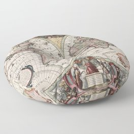 Vintage Maps Of The World Floor Pillow