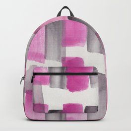 Stripe Black Grey Pink    190213 Watercolour Abstract Painting Backpack