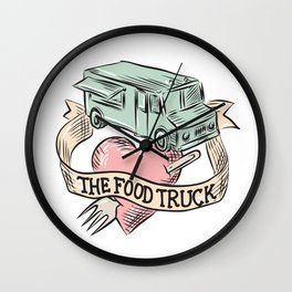 Food Truck Heart Fork Etching Wall Clock