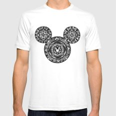 Mickey Mouse Mandala White LARGE Mens Fitted Tee