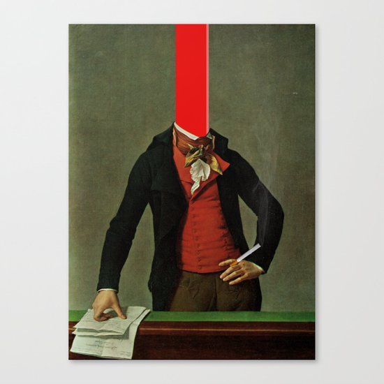 The red stripe in the head and the cigarette in the hand Canvas Print