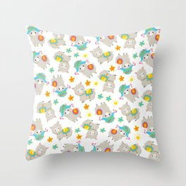 Pattern Of Alpacas, Cute Llamas With Hats, Flowers Throw Pillow