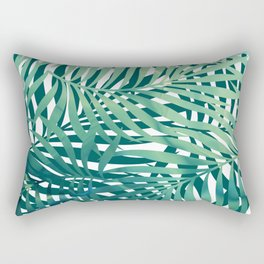 Abstract Watercolor, Palm Tree, Blue, Teal and Green Prints Rectangular Pillow