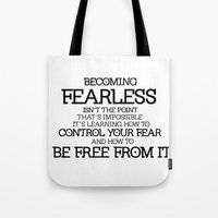 divergent Tote Bags featuring BECOMING FEARLESS - Divergent by All Things M