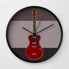 Red semi-electric guitar against a brown background | Vector digital art Wall Clock