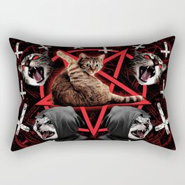 satanic cat pentagram death black metal band exorcist Rectangular Pillow