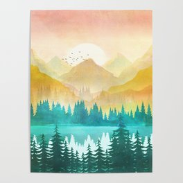 Summer Mountain Sunrise Poster