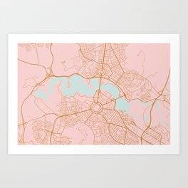 Pink and gld Canberra map Art Print