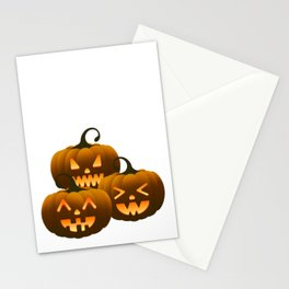 Three different halloween pumpkins Stationery Cards