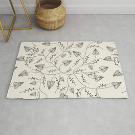 Beautiful herbs. Black and white pattern . Rug