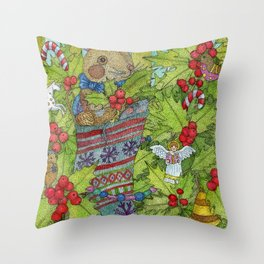 Soft toy rabbit in a sock Christmas gift. Throw Pillow