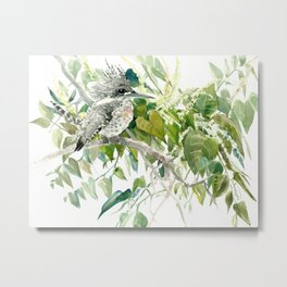 Crested Kingfisher and Japanese Knotweed Metal Print