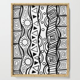 Four Waves - Freestyle Tribal Doodle Design Serving Tray