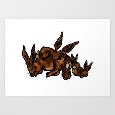 Sleeping Hare Family Art Print