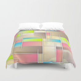Abstract Retro Pastel Duvet Cover