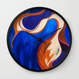 Abstract Blue and Orange Bird Wall Clock