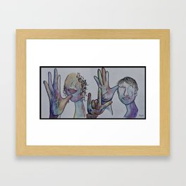 Mother Father I Love You in Denim Colors Framed Art Print