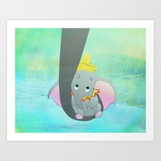 dumbo and his mom Art Print