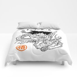 Goku and shenron Comforters