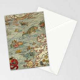 Medieval Map Scandinavia 1539 Stationery Cards