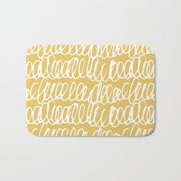 Doodles Waves Yellow Bath Mat
