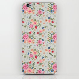 Embroidered Flowers - Light iPhone Skin