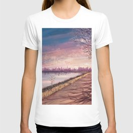 Gorgeous Lakeside View Of Amazing Townscape At Wonderful Dusk Cartoon Scenery Ultra High Resolution T-shirt