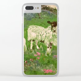 Lambs in the Meadow Clear iPhone Case