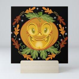 Retro Smiling Jack O Lantern Mini Art Print