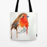 robin Tote Bags featuring Robin by Paint the Moment