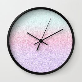 Colorful Purple, Pink and Green Watercolor Trendy Glitter Mermaid Pastel Iridescent Wall Clock