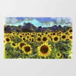 Sunflower Fields Of Summer Van Goth Rug