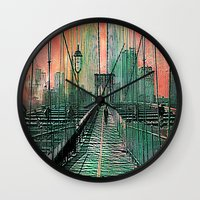 brooklyn bridge Wall Clocks featuring Brooklyn Bridge by Joe Ganech