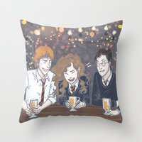 enerjax Throw Pillows featuring The Golden Trio by enerjax