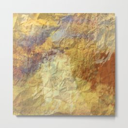 Golden Textures with Purple and Rust Metal Print